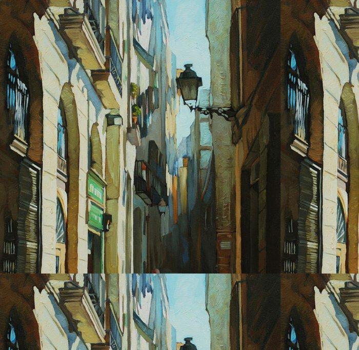 Tapeta Pixerstick Gotická čtvrť v Barceloně, malování olejem na plátně, illust - Témata