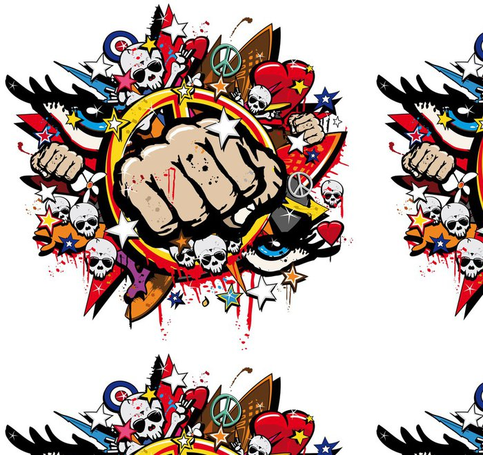 Tapeta Pixerstick Graffiti Fist Freefight klub symbol pop art - Nálepka na stěny