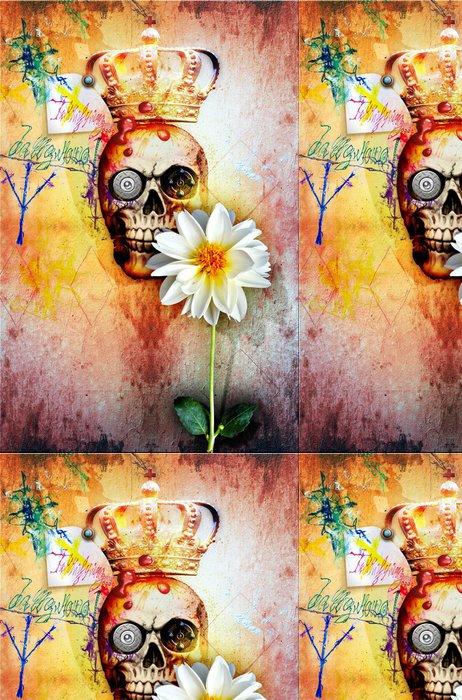 Tapeta Pixerstick Graffiti stěna s králem lebky a svatou květinou - Ezoterika