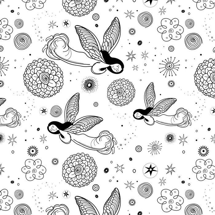 Tapeta Pixerstick Grafický vzor andělů - Žena