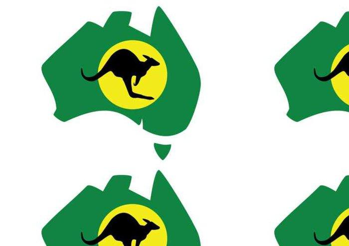 Vinylová Tapeta Green mapa Austrálii klokana před měsícem - Grafika