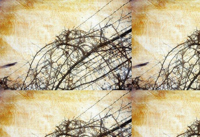 Vinylová Tapeta Grunge pozadí s hroznovým-révy přes ostnatý drát - Struktury