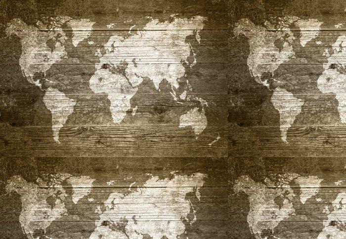 Tapeta Pixerstick Grunge Wood - Mapa světa - Témata