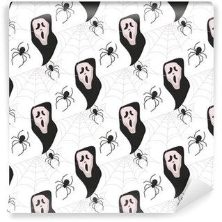 Vinylová Tapeta Halloween bezešvé vzor vektoru pozadí rekreačních horor tapety kreslený strašidelné podzimu výzdobě ilustrační.