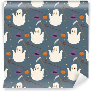 Vinylová Tapeta Halloween duch bezproblémový vzor na pozadí noční rip party trik nebo zacházet s cukroví vektorové ilustrace.