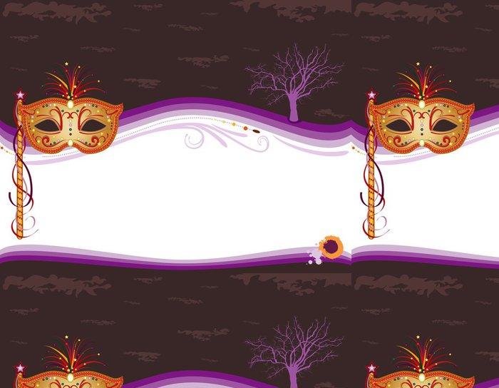 Tapeta Pixerstick Halloween maškarní pozvání se zlatou maskou - Mezinárodní svátky