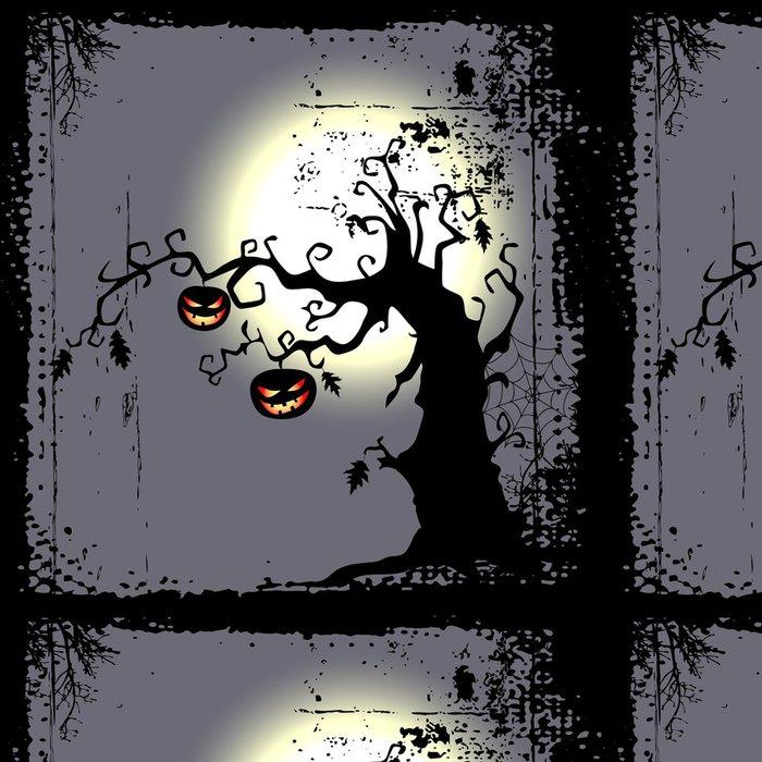 Tapeta Pixerstick Halloween pozadí - dvě dýně visí na stromě - Mezinárodní svátky