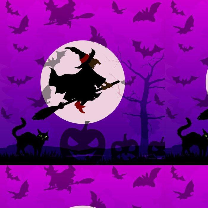 Tapeta Pixerstick Halloween pozadí s létající čarodějnice - Mezinárodní svátky