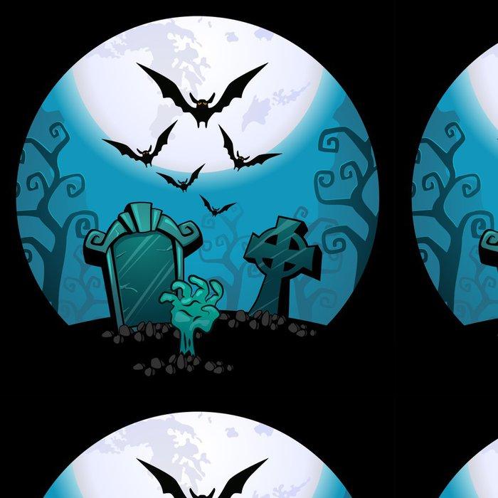 Tapeta Pixerstick Halloween pozadí. strašidelný zombie ruce a hrob - Témata