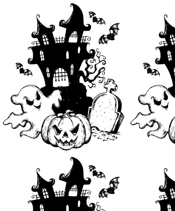 Tapeta Pixerstick Halloween téma kreslení 1 - Mezinárodní svátky