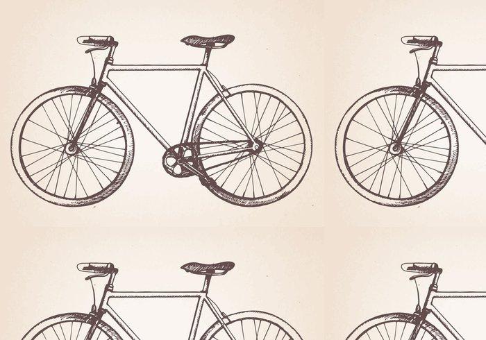 Tapeta Pixerstick Hand drawn vintage kolo. Vektor - Na cestě