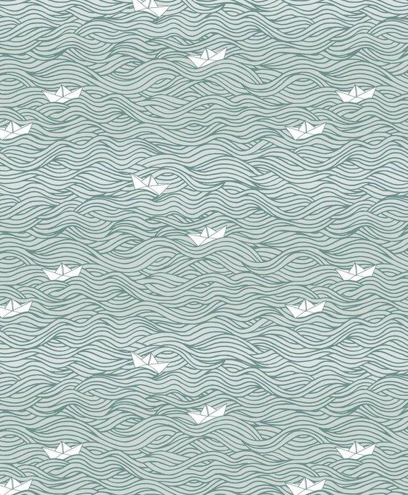 Vinylová Tapeta Handgezeichnetes Hintergrundmuster mit Wellen und Papierbooten - Pozadí
