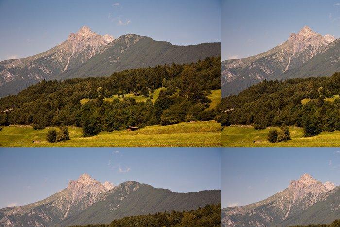 Tapeta Pixerstick Harmonische Landschaft mit Bergen in Tirol bei Grins - Hory