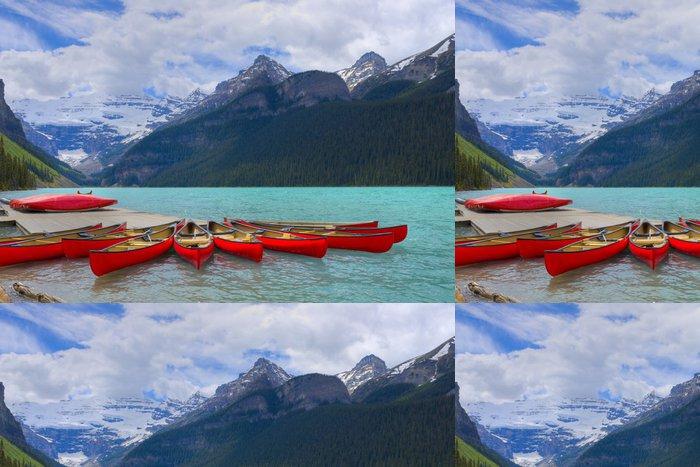 Tapeta Pixerstick HDR Kánoe na jezeře Louise, Banff Kanada - Hory