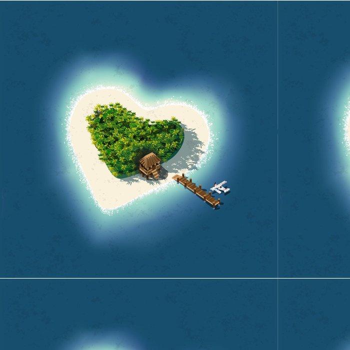 Vinylová Tapeta Heart Shaped Tropical Island pro romantickou dovolenou - Ostrovy