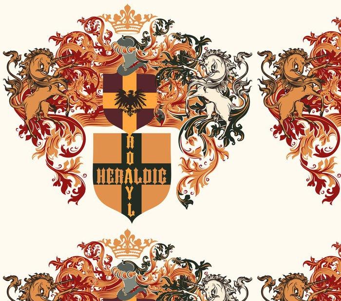 Tapeta Pixerstick Heraldický design s erbem, štítu a koní v ročníku - Značky a symboly