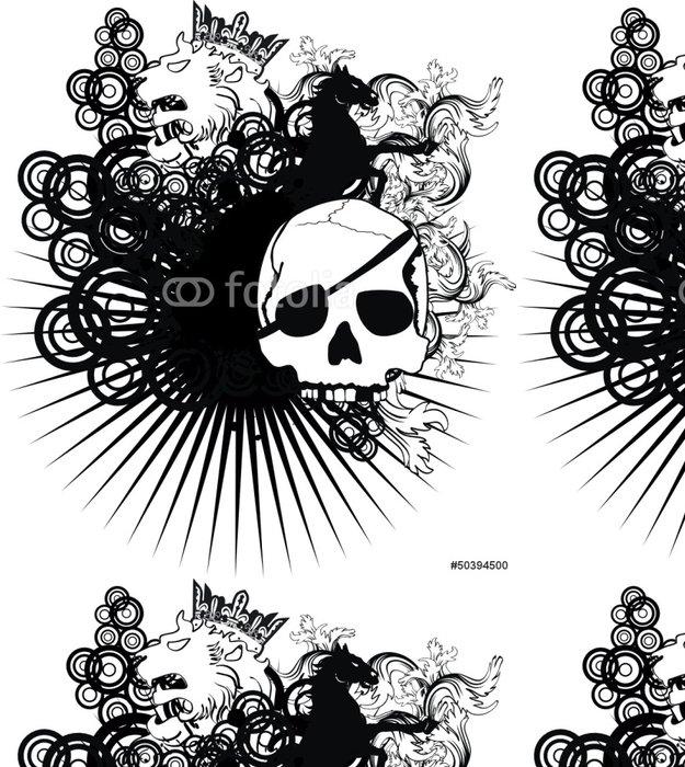Tapeta Pixerstick Heraldický erb hřeben zbraně lebky - Abstraktní
