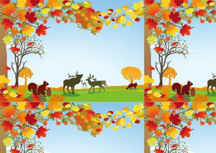 Tapeta Pixerstick Herbst mit Wildtieren - Roční období