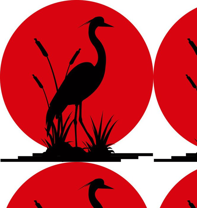 Vinylová Tapeta Heron silueta s obří měsíc pozadím - Savci