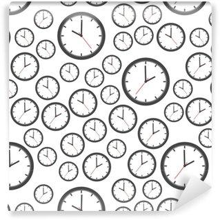 Vinylová Tapeta Hodiny bezešvé vzor ikonu na pozadí. ploché vektorové ilustrace. znak symbolů hodin.