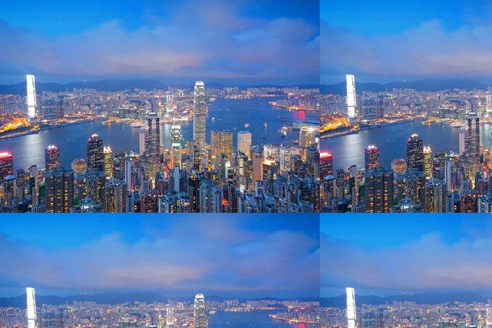 Tapeta Pixerstick Hong Kong panorama od Victoria Peak při východu slunce - Criteo