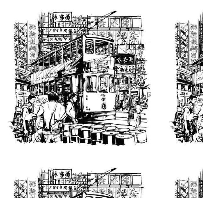 Tapeta Pixerstick Hong Kong, tramvaje na ulici - Stavby a architektura