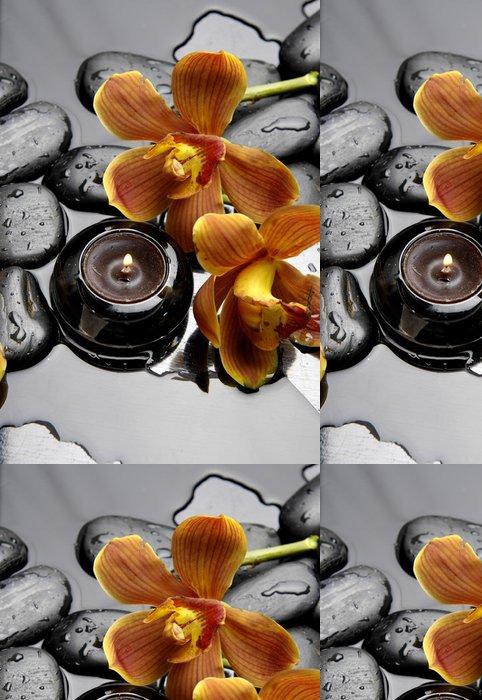 Tapeta Pixerstick Hořící svíčku a zen kameny s oranžovou orchidej - Témata