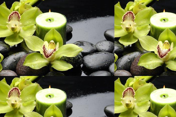 Tapeta Pixerstick Hořící svíčku a zen kameny s žluté orchideje - Styly