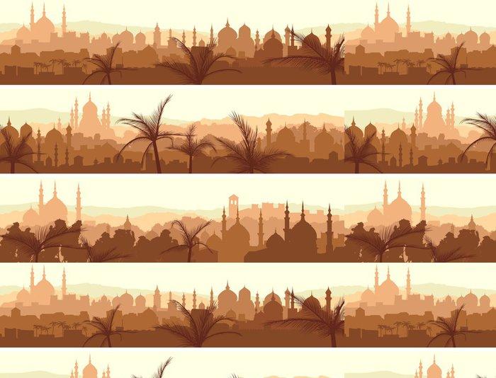 Vinylová Tapeta Horizontální bannery velkého arabského města při západu slunce. - Evropa