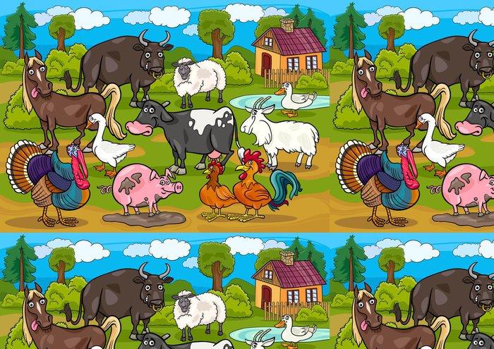 Tapeta Pixerstick Hospodářská zvířata country scene kreslené ilustrace -