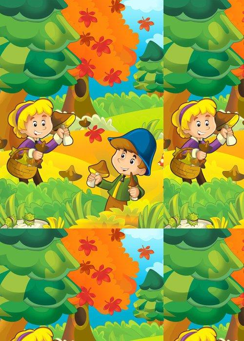 Tapeta Pixerstick Houbaření - ilustrace pro děti - Outdoorové sporty
