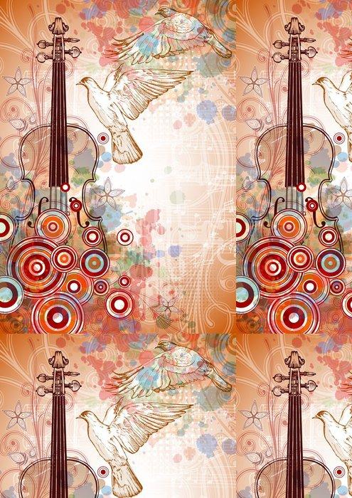 Vinylová Tapeta Housle, hudba listy, létající holubice na barvu laku pozadí - Hudba