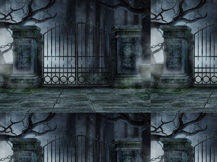 Tapeta Pixerstick Hřbitovní brána se starými stromy - Roční období