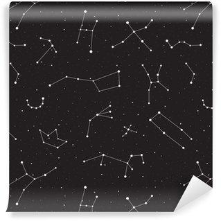 Tapeta Pixerstick Hvězdná noc, bezešvé vzor, pozadí s hvězdami a souhvězdími, vektorové ilustrace