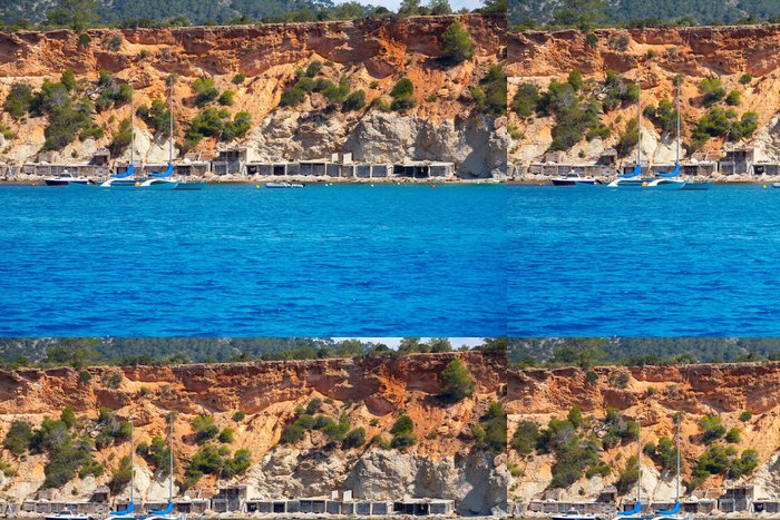 Tapeta Pixerstick Ibiza Cala dHort d Hort pohled z lodi na Baleárech - Evropa