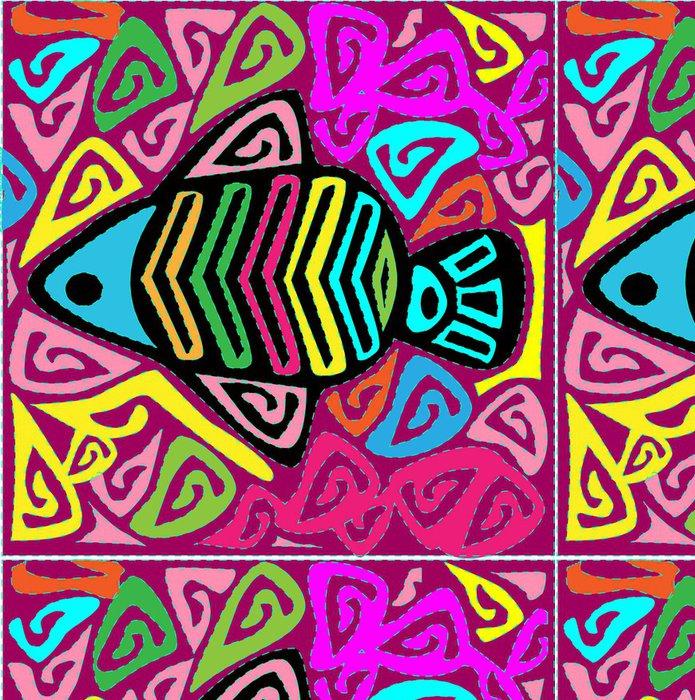 Tapeta Pixerstick Ilustrace mola ryby -folk art rodák kuna -vector - Vodní a mořský život
