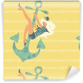 Vinylová Tapeta Ilustrace pin-up girl kývání na kotvu