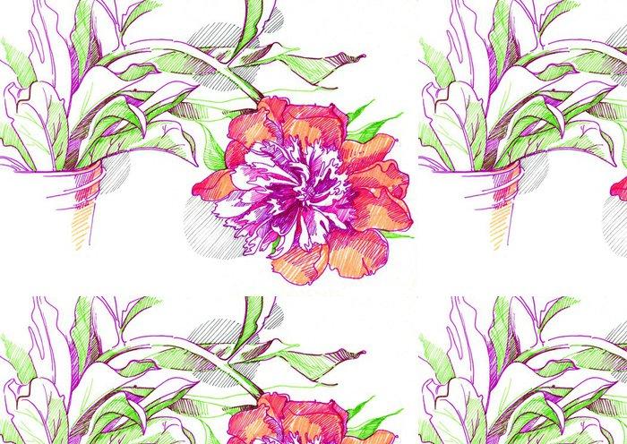 Vinylová Tapeta Ilustrace pivoňka květ - Květiny