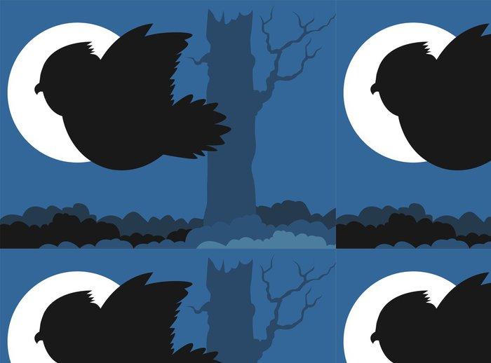 Tapeta Pixerstick Ilustrace pták létání v modrém pozadí - Ptáci