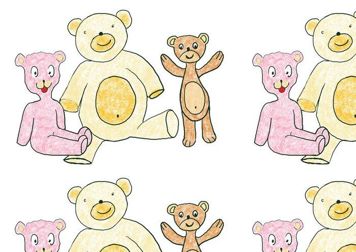 Tapeta Pixerstick Ilustrace s Taddy medvědi, různé barvy - Savci