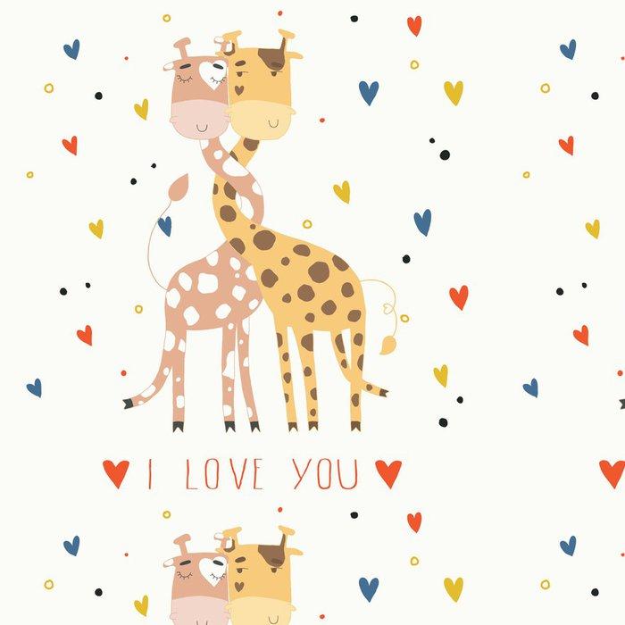 Tapeta Pixerstick Ilustrace žiraf v lásce. Karta na Valentýna - Mezinárodní svátky