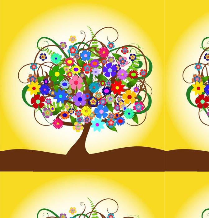 Tapeta Pixerstick Ilustrační eines abstrakten Baumes mit Bunten Blüten - Stromy