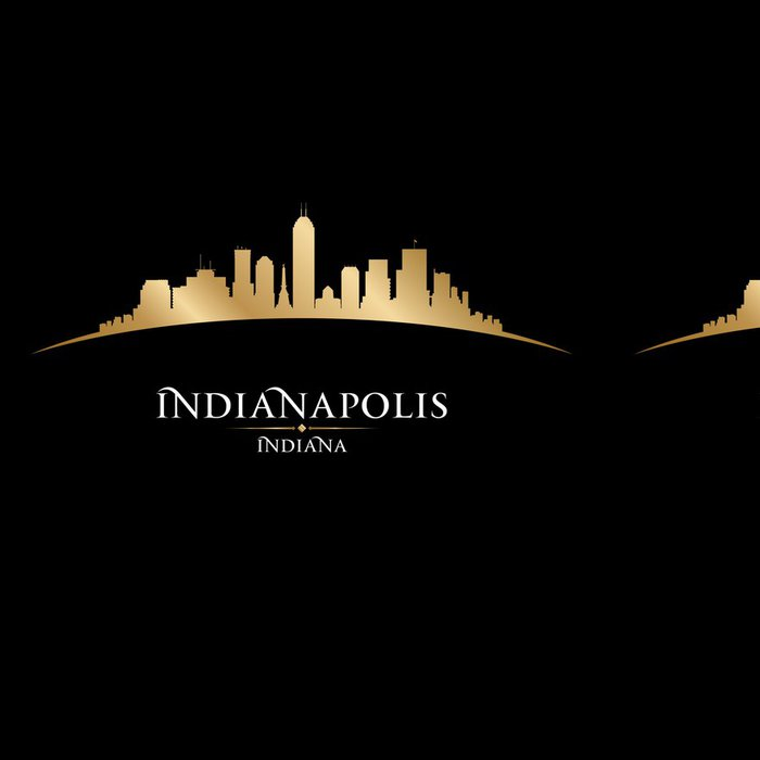 Tapeta Pixerstick Indianapolis Indiana panorama města siluetu černé pozadí - Amerika