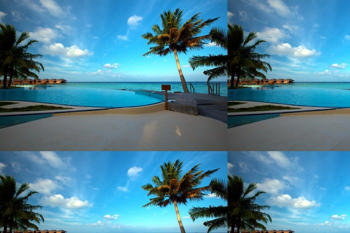 Tapeta Pixerstick Infinity bazén na Maledivách! - Prázdniny