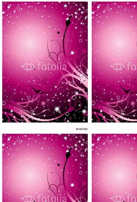 Vinylová Tapeta Inter galaktické květinové pozadí ve magenta s hvězdami - Pozadí