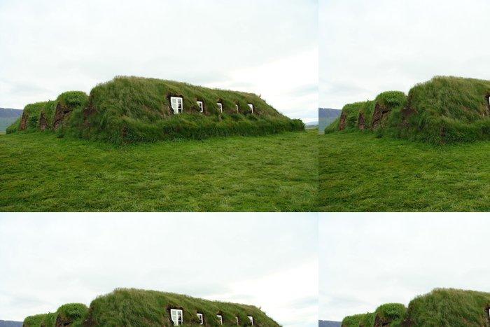 Tapeta Pixerstick Islandský trávník dům - Evropa