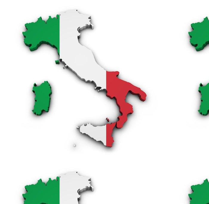 Vinylová Tapeta Italy Map Flag Tvar - Evropa