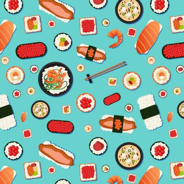 Tapeta Pixerstick Japanese Food bezešvé vzor. Sushi s různými Rolls, polévka - Jídlo