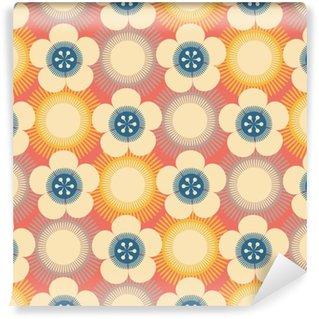Vinylová Tapeta Japonský styl bezešvé dlaždice s třešňové květy vzory v modré, žluté a krémové