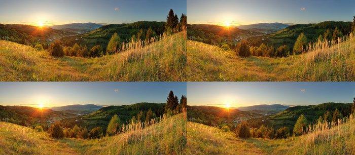Tapeta Pixerstick Jarní horské panorama na Slovensku se sluncem - Hory